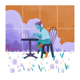 illustration vectorielle working coffe guy sky candle