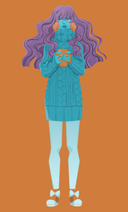 coffe girl illustration vectorielle personnage