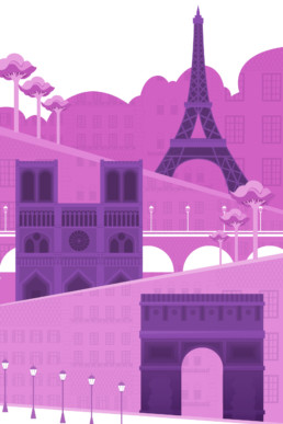 affiche dessin vectoriel paris monuments